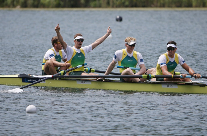 Australia's men's four celebrate victory at the Lucerne World Cup on July 12. But a bike crash has put Alex Lloyd (second left) with a broken collarbone and left two other crew members, Spencer Turrin (second right) and Alexander Hill (right) with injuries just over a month ahead of the World Championships in France ©Getty Images