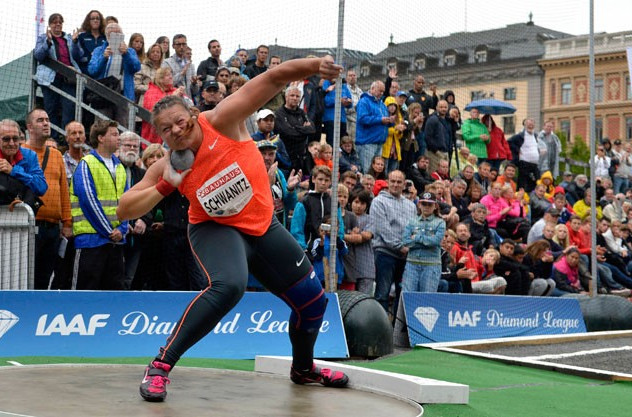 Germany's Christina Schwanitz dominated the shot put in the open air setting of Stockholm's Kungsträdgården square as the Diamond League meeting organisers sought to engage the wider public with athletics events ©Getty Images