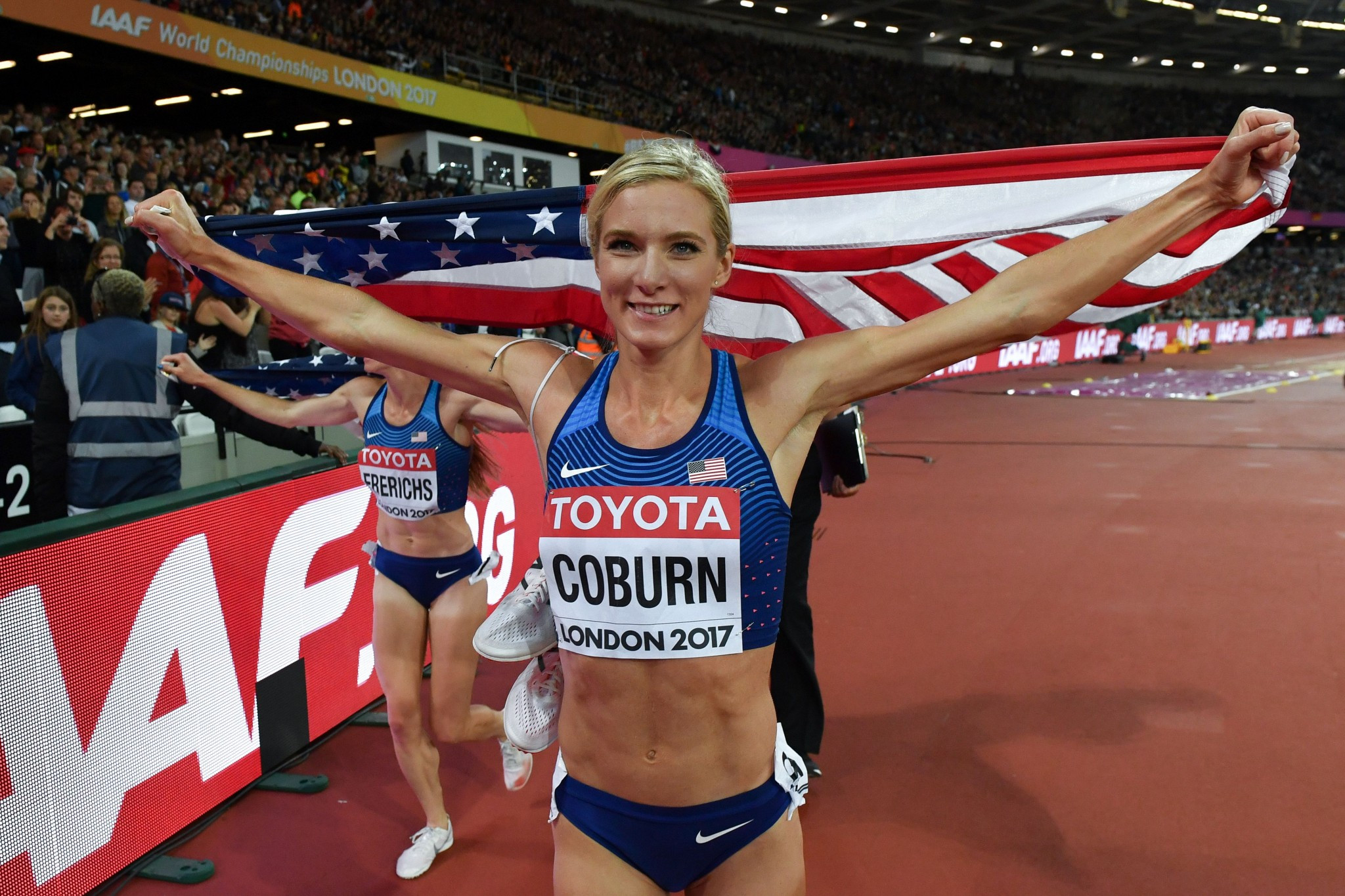 Emma Coburn became the first athlete to break a record at these Championships ©Getty Images