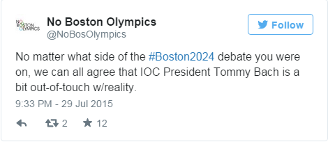 Thomas Bach's criticism of Boston 2024 brought scorn from No Boston Olympics