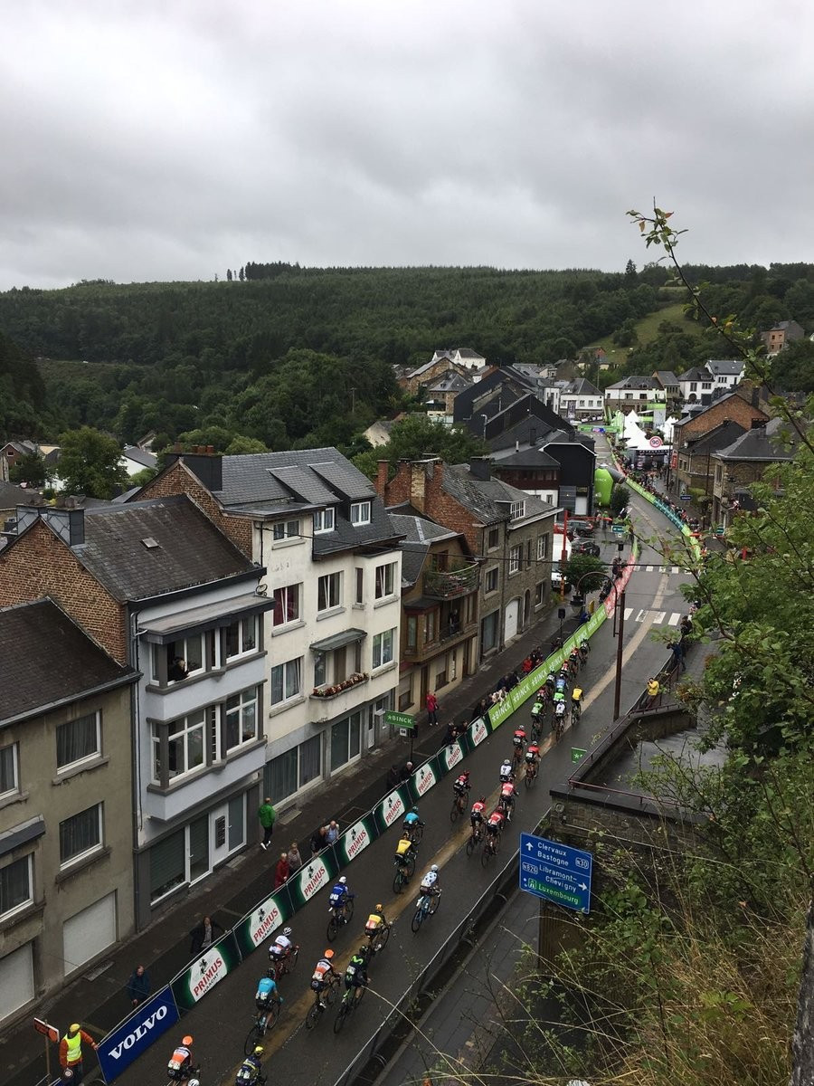 The field completed 203.7km from Riemst to Houffalize in the Ardennes today ©Twitter/BinckBankTour