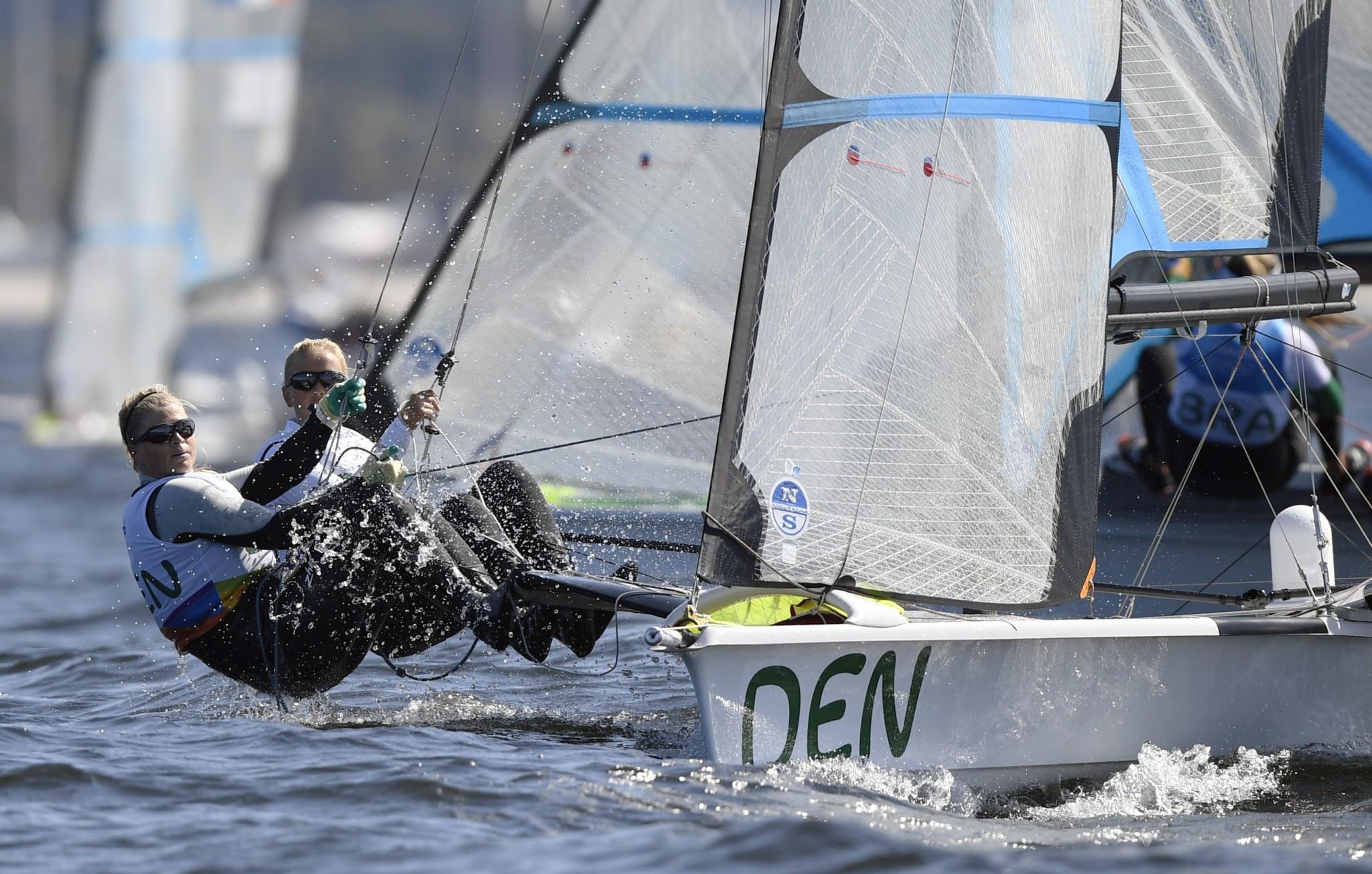 Denmark's Jena Hansen and Katja Salskov-Iversen secured gold in the 49erFX class ©Getty Images