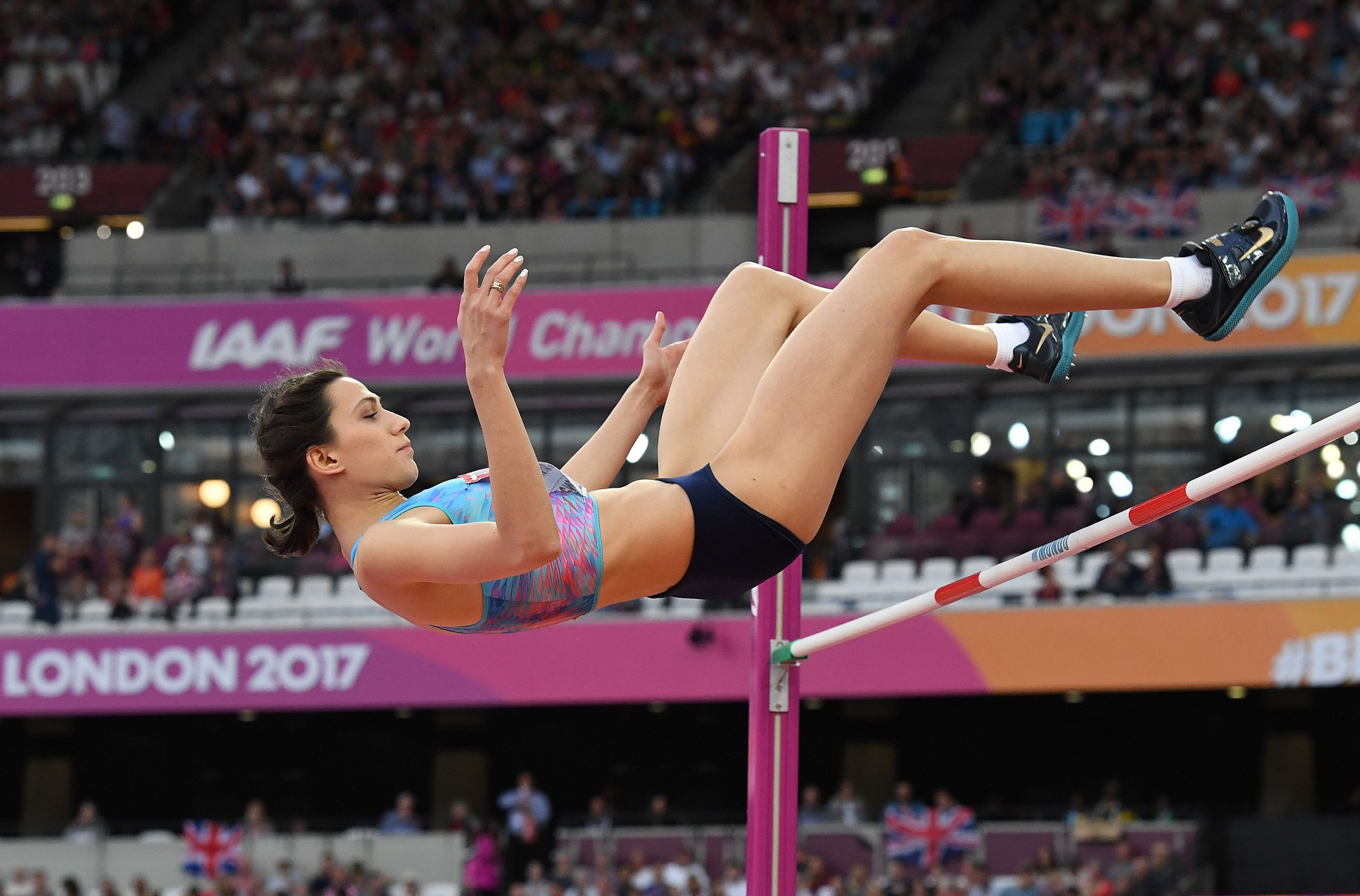 Maria Lasitskene comfortably won the women's high jump to claim the first title for the authorised neutral athletes team ©Getty Images