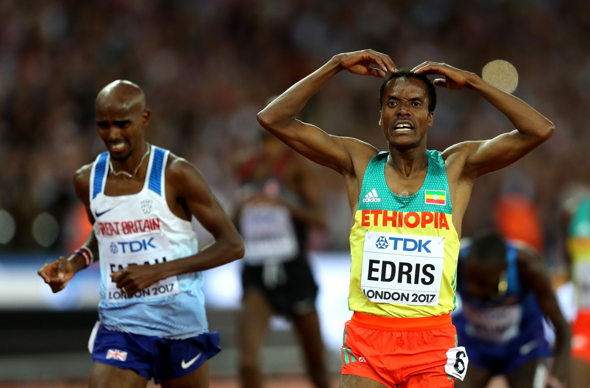 Muktar Edris spoiled Sir Mo's final event by winning the 5,000m gold medal ©Getty Images