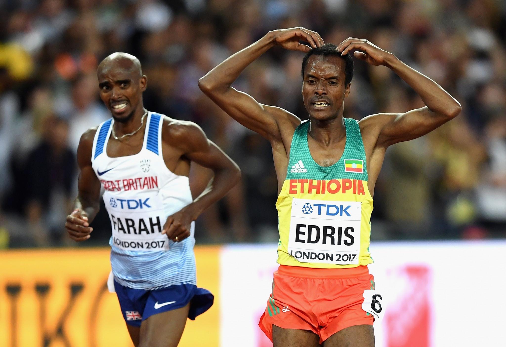 Muktar Edris shocked Sir Mo Farah to win the 5,000m ©Getty Images