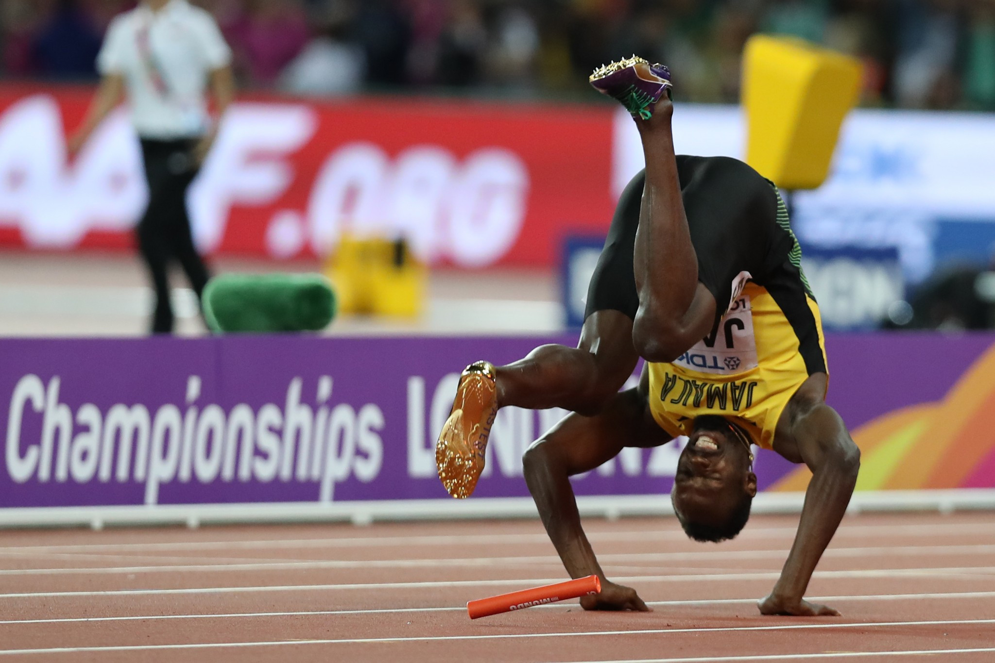 Usain Bolt's fall provided huge drama in the men's 4x100m relay race ©Getty Images