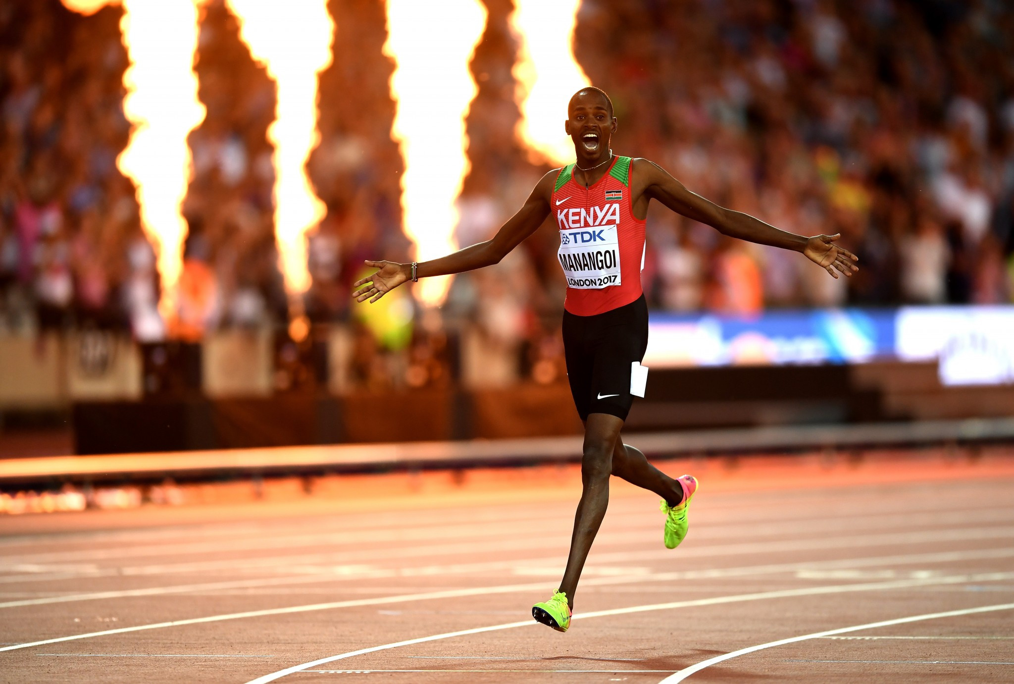Elijah Manangoi triumphed in a thrilling men's 1,500m race ©Getty Images