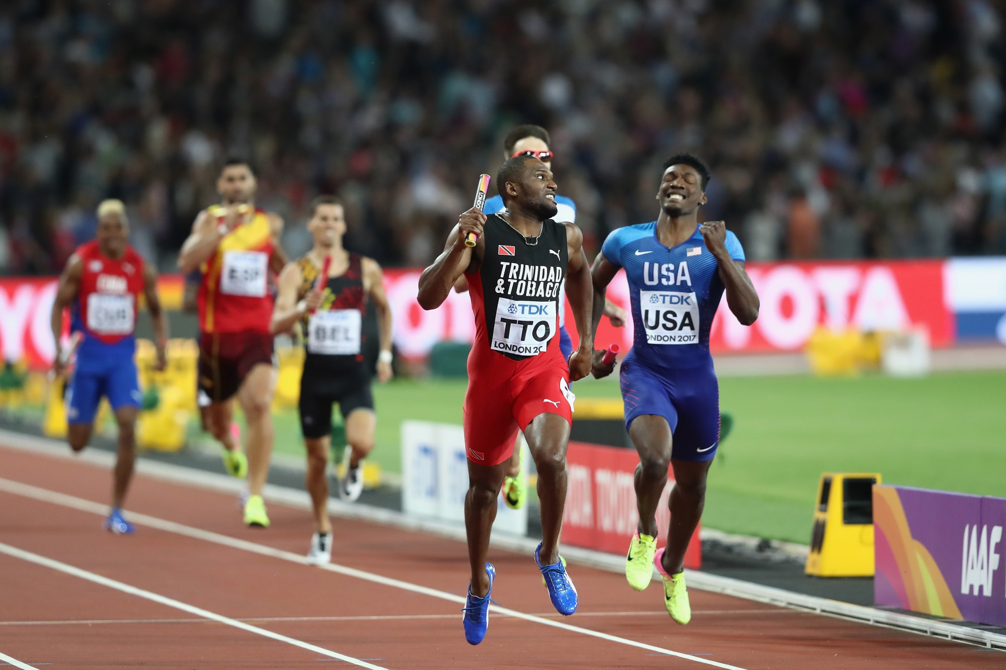 Trinidad and Tobago stunned the United States in the men's 4x400m relay to claim the last gold medal of the Championships ®Getty Images