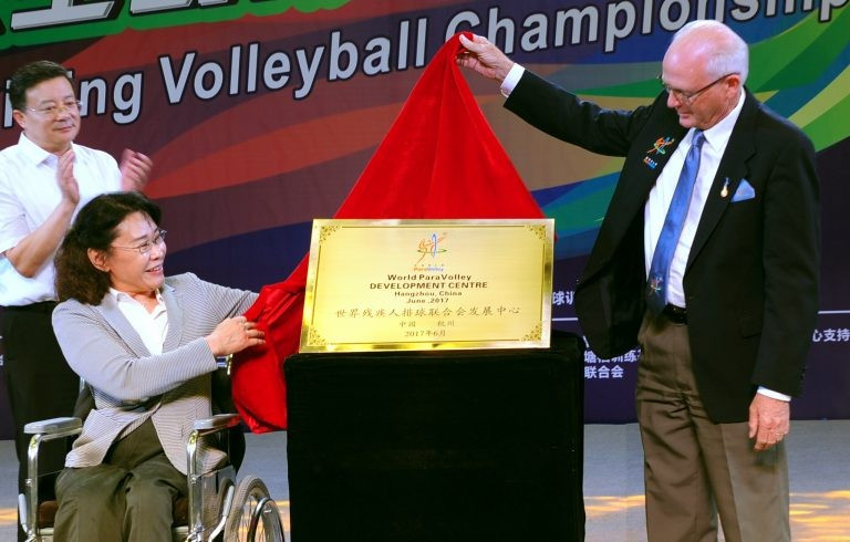 IPC Presidential candidate Zhang Haidi and World ParaVolley President Barry Couzner opened the Centre ©World ParaVolley