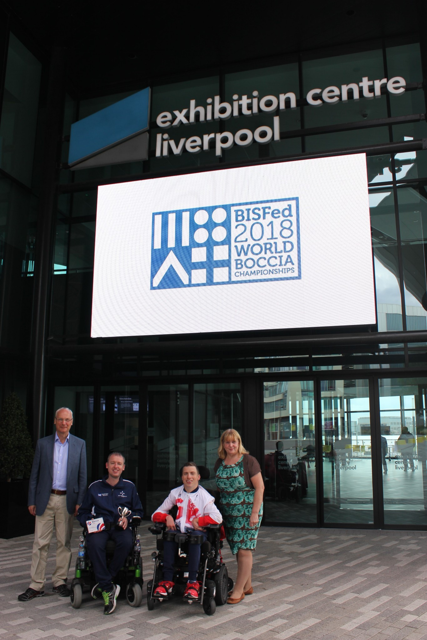 Left to right: John Dowson, Stephen McGuire, David Smith and Wendy Simon at the logo launch in Liverpool ©BISFed