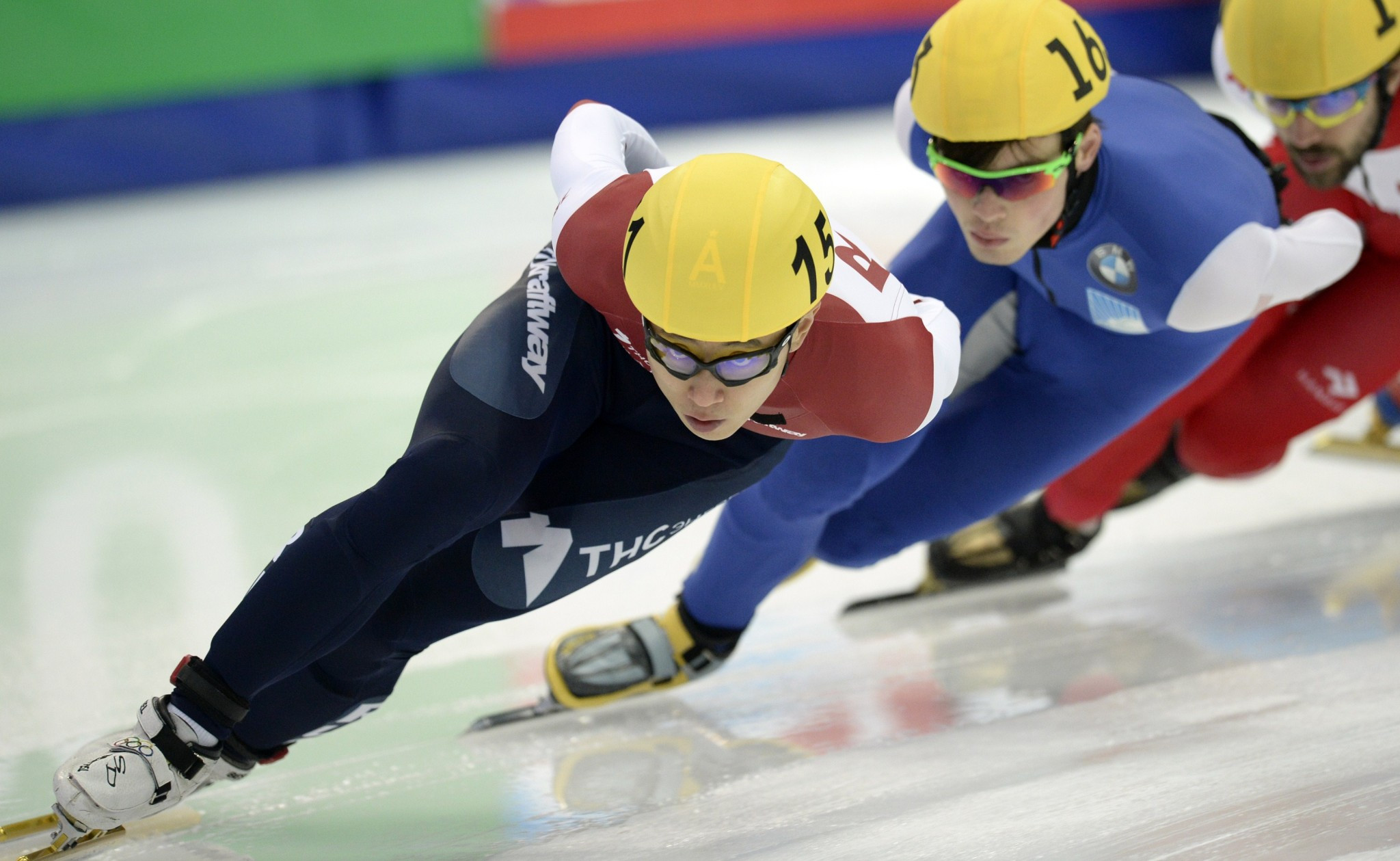 Viktor Ahn, pictured leading at the 2015 World Short Track Speed Skating Championships, will seek further medals at the Pyeongchang 2018 Games as part of the Russian team ©Getty Images