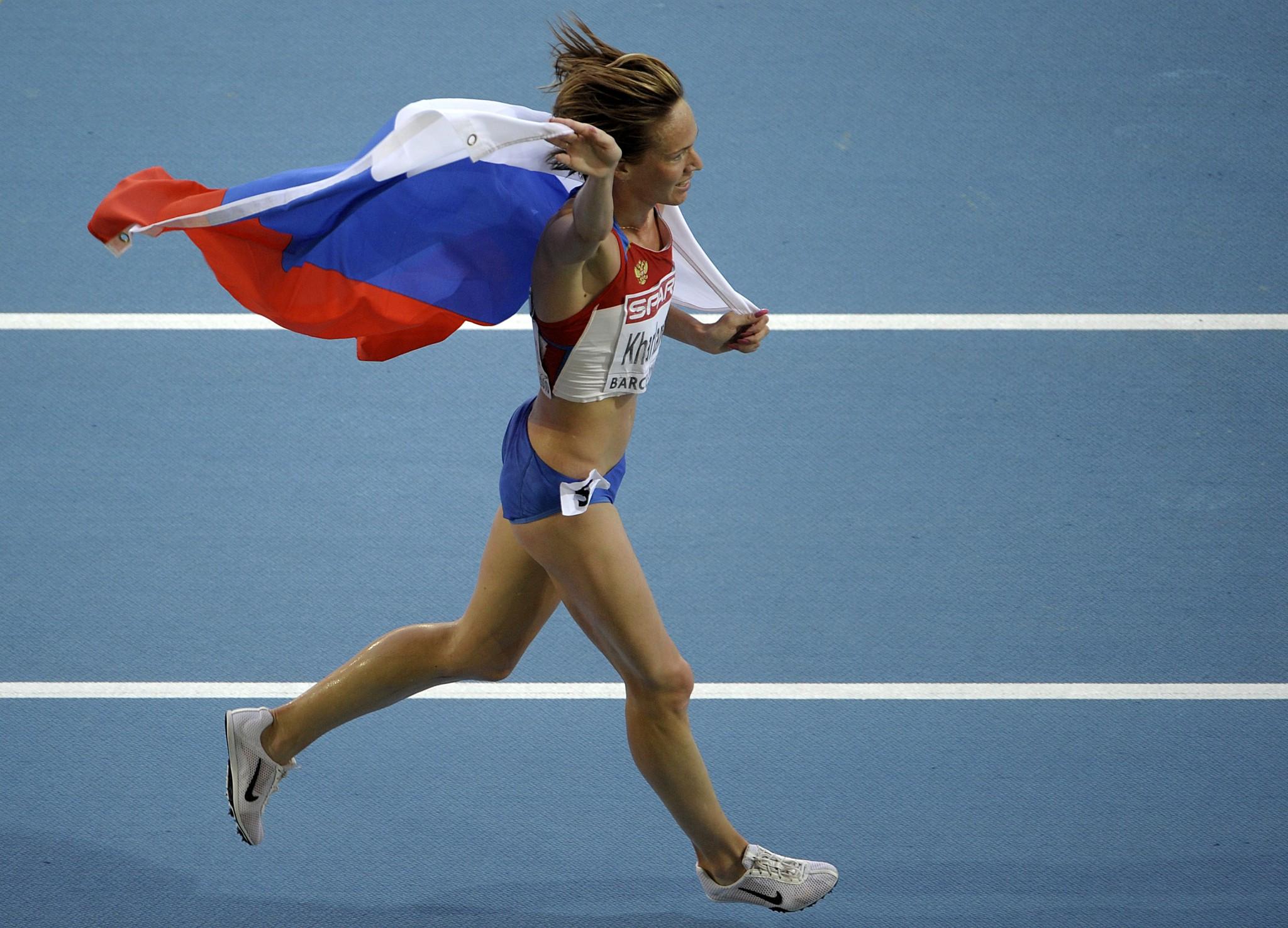 Lyubov Kharlamova celebrates a 3,000m steeplechase medal at the 2010 European Championships ©Getty Images