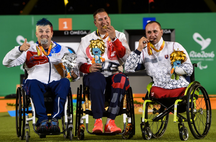 John Walker, centre, pictured with his archery gold medal at the 2016 Paralympics in Rio, is one of three current champions picked by Britain for next month's World Para Archery Championships in Beijing ©Getty Images