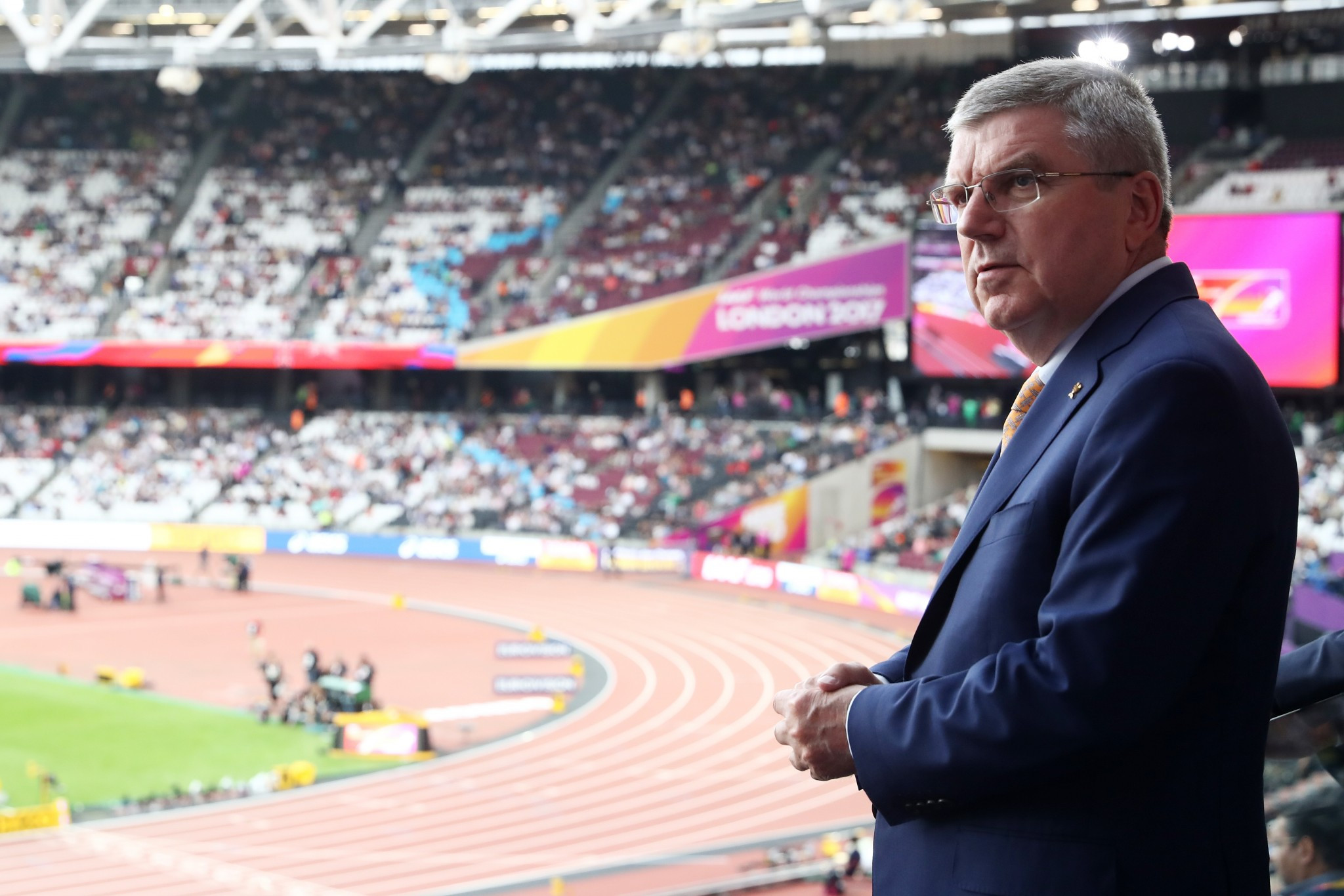 International Olympic Committee President Thomas Bach during a visit to the IAAF World Championships in London ©Getty Images