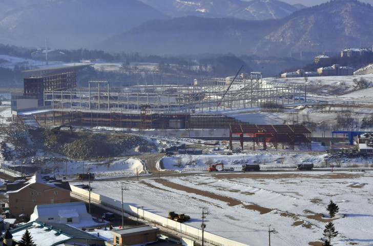 Work underway in February this year on the stadium that will host the Opening and Closing Ceremonies of the Pyeongchang 2018 Winter Olympics and Paralympics ©Getty Images