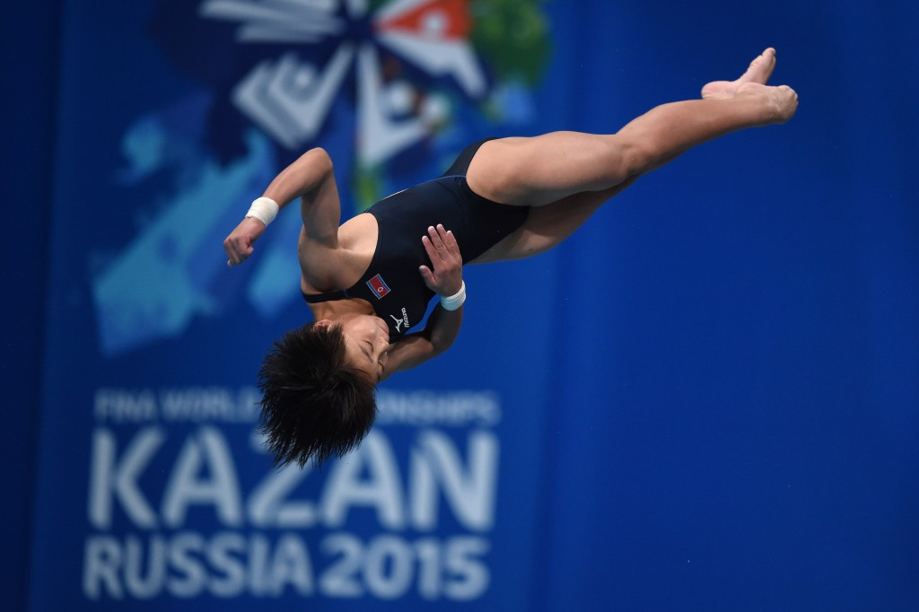 Kim Kuk-hyang won North Korea's first-ever World Championships gold medal with success in the women's 10 m platform diving event ©Getty Images