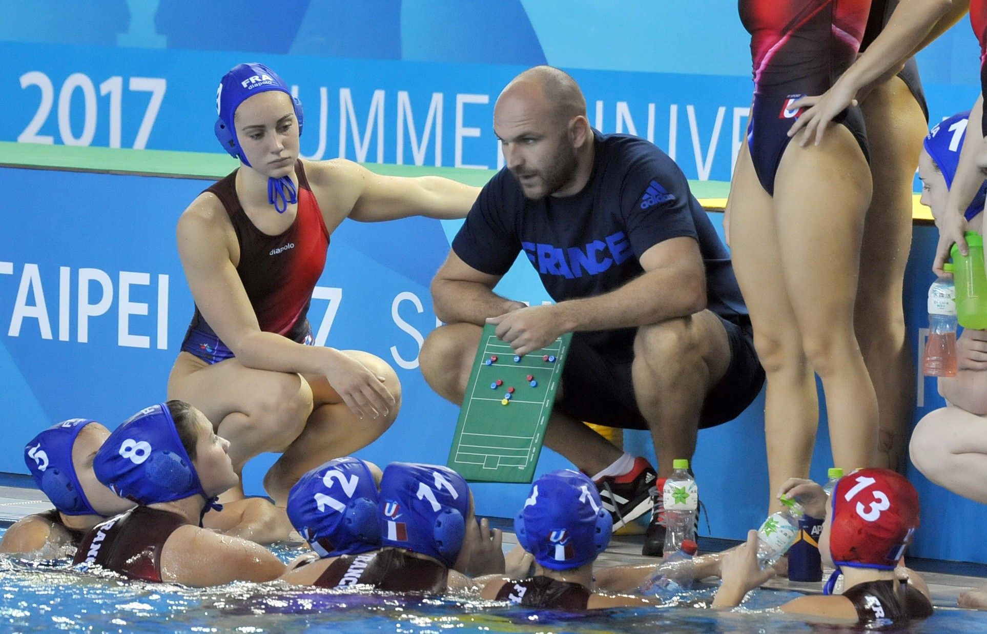 France were beaten in their first match of the women's water polo competition ©Taipei 2017