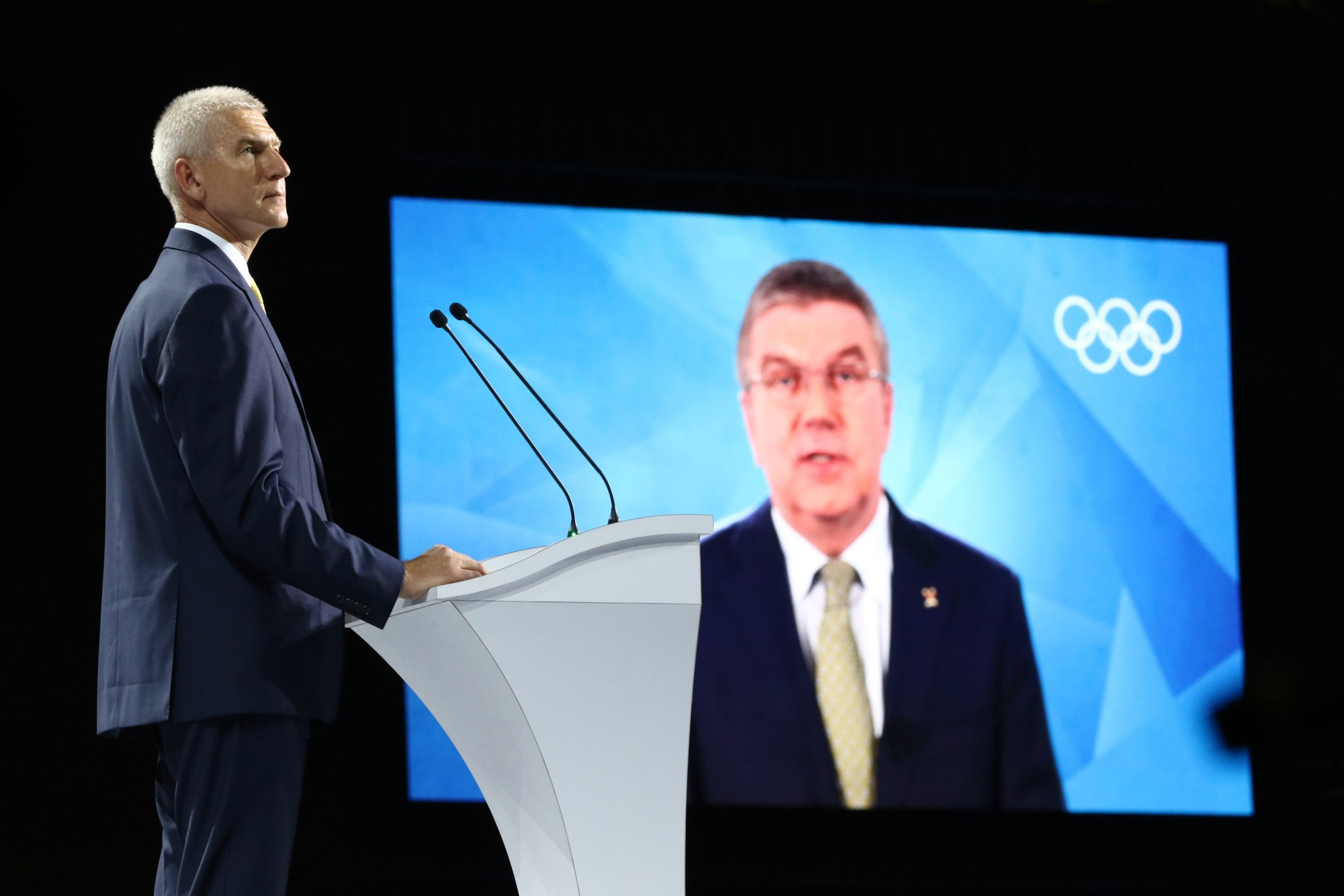 FISU President Oleg Matytsin, left, and IOC President Thomas Bach, right, both delivered speeches ©Taipei 2017