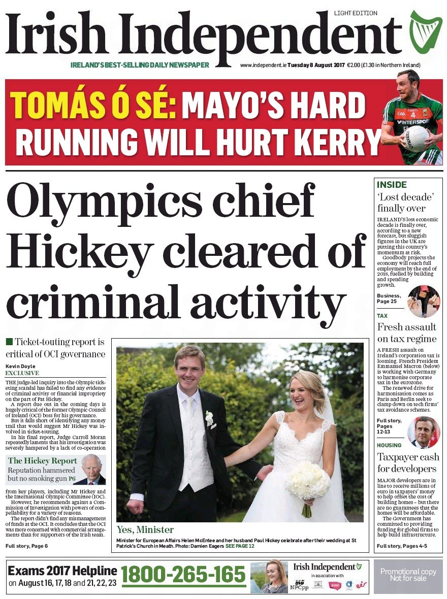 The Moran Report cleared Patrick Hickey of any criminal activity when it investigated the ticket crisis which led to the arrest of the Olympic Council of Ireland in President during Rio 2016 ©Irish Independent