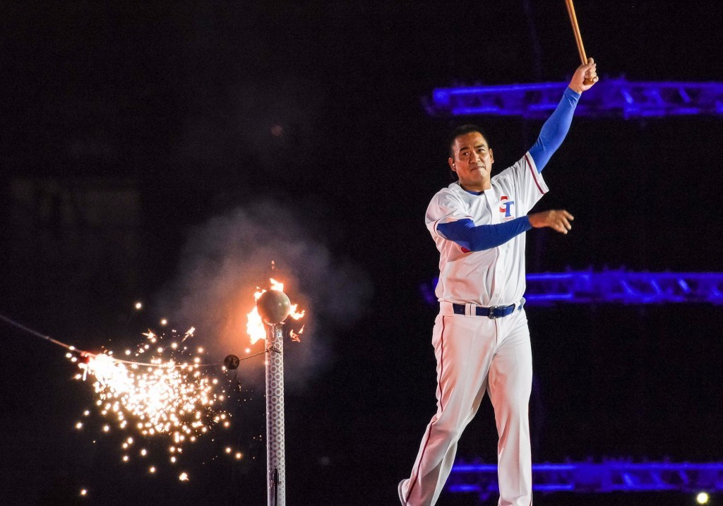 Baseball player Chen Chin-Feng capped off a memorable Opening Ceremony ©Taipei 2017