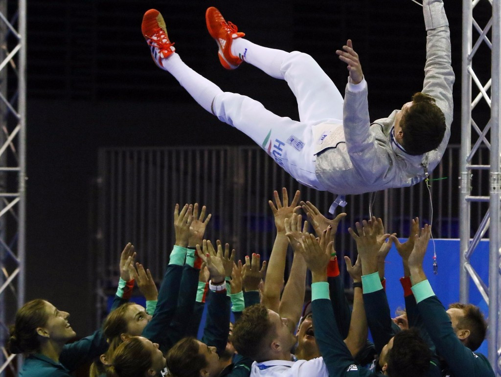 Hungary's world champion Andras Szatmari claimed victory in the men's individual sabre fencing event ©Taipei 2017