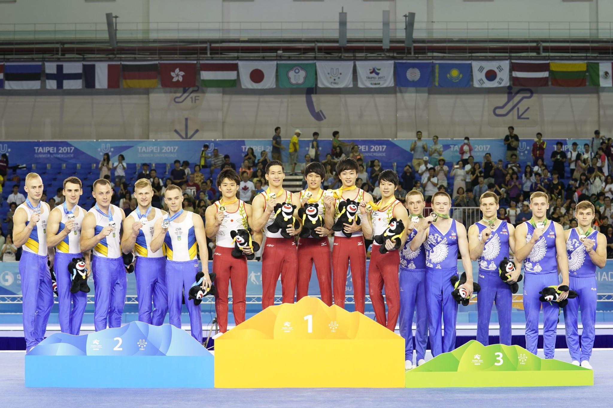 Japan beat the Ukraine to men's team gymnastics gold ©Taipei 2017