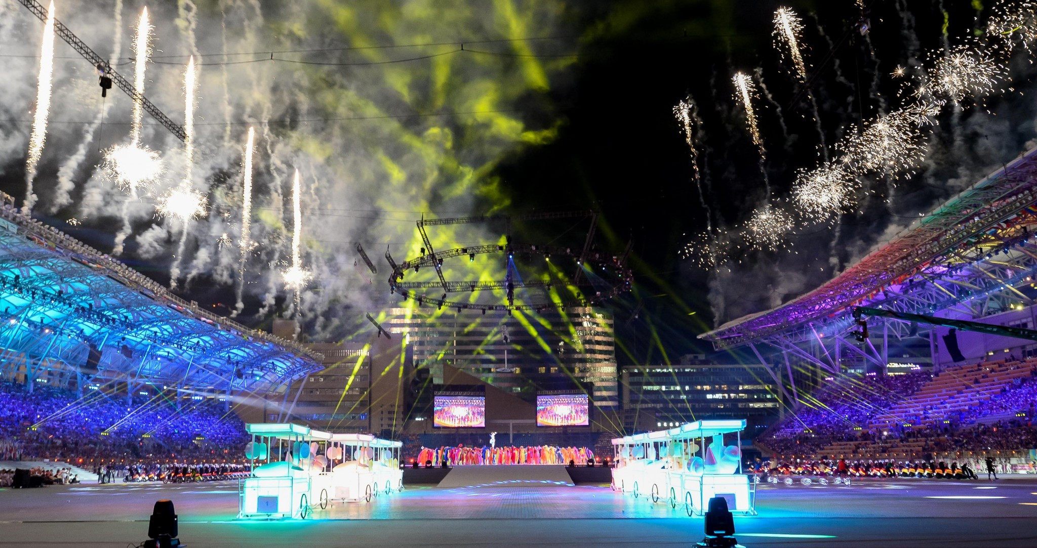 The Opening Ceremony continued as planned when athletes eventually entered the stadium ©Taipei 2017