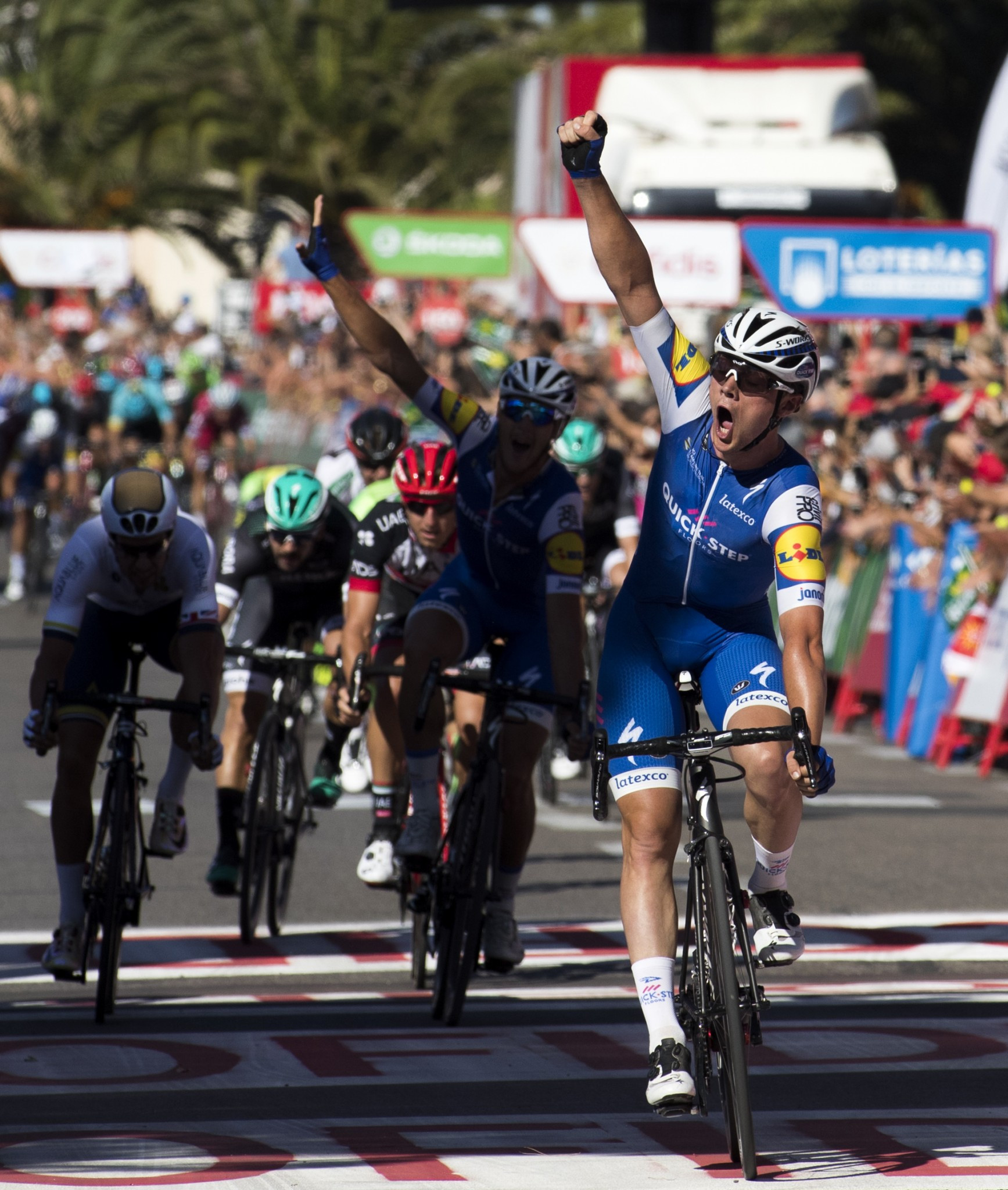 Belgium's Yves Lampaert celebrates as he crosses the line to win the second stage of the Vuelta a España today ©Getty Images