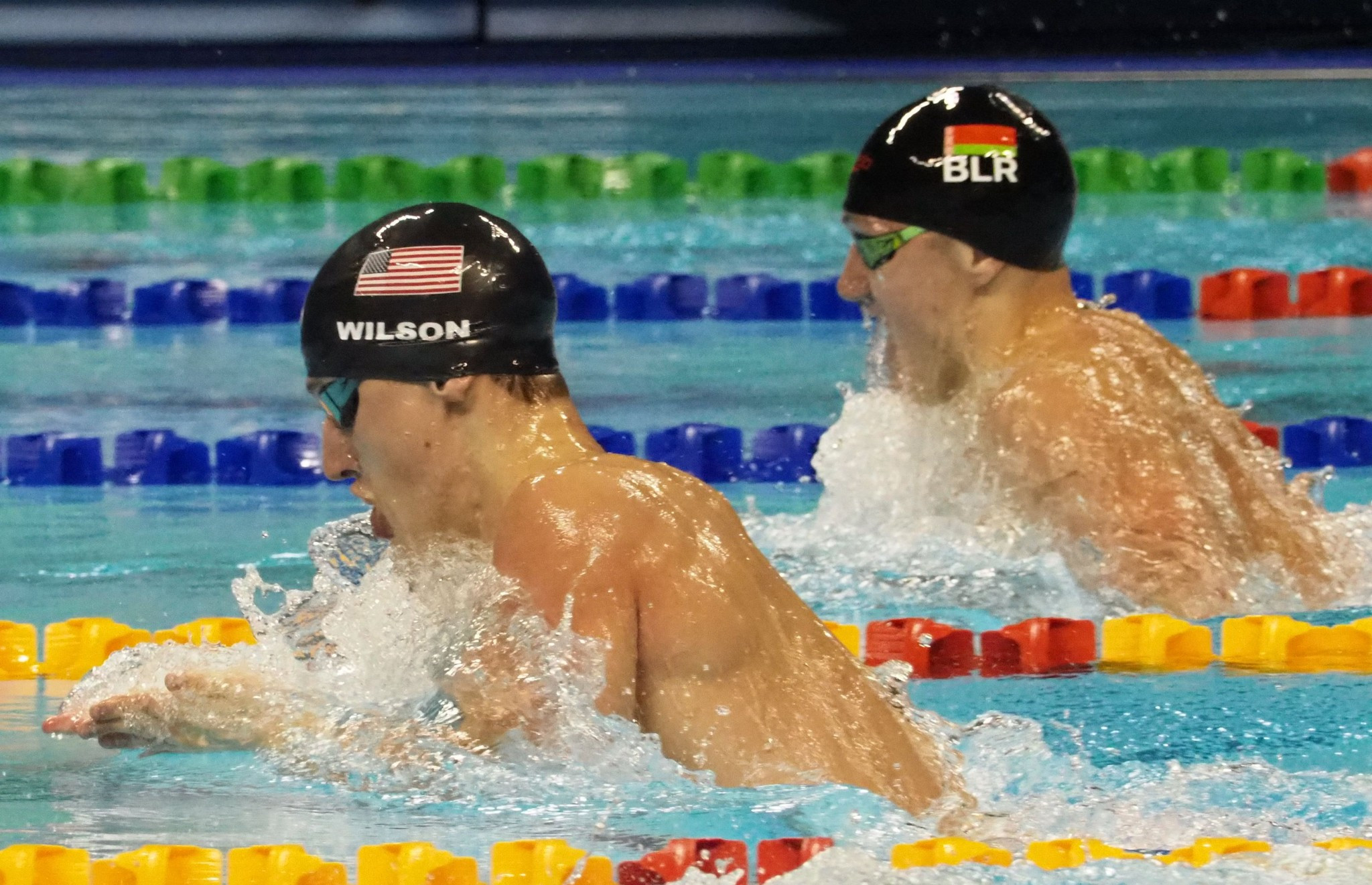 Andrew Wilson, left, and Ilya Shymanovich, right, shared the men's 100 metres breaststroke title ©Taipei 2017