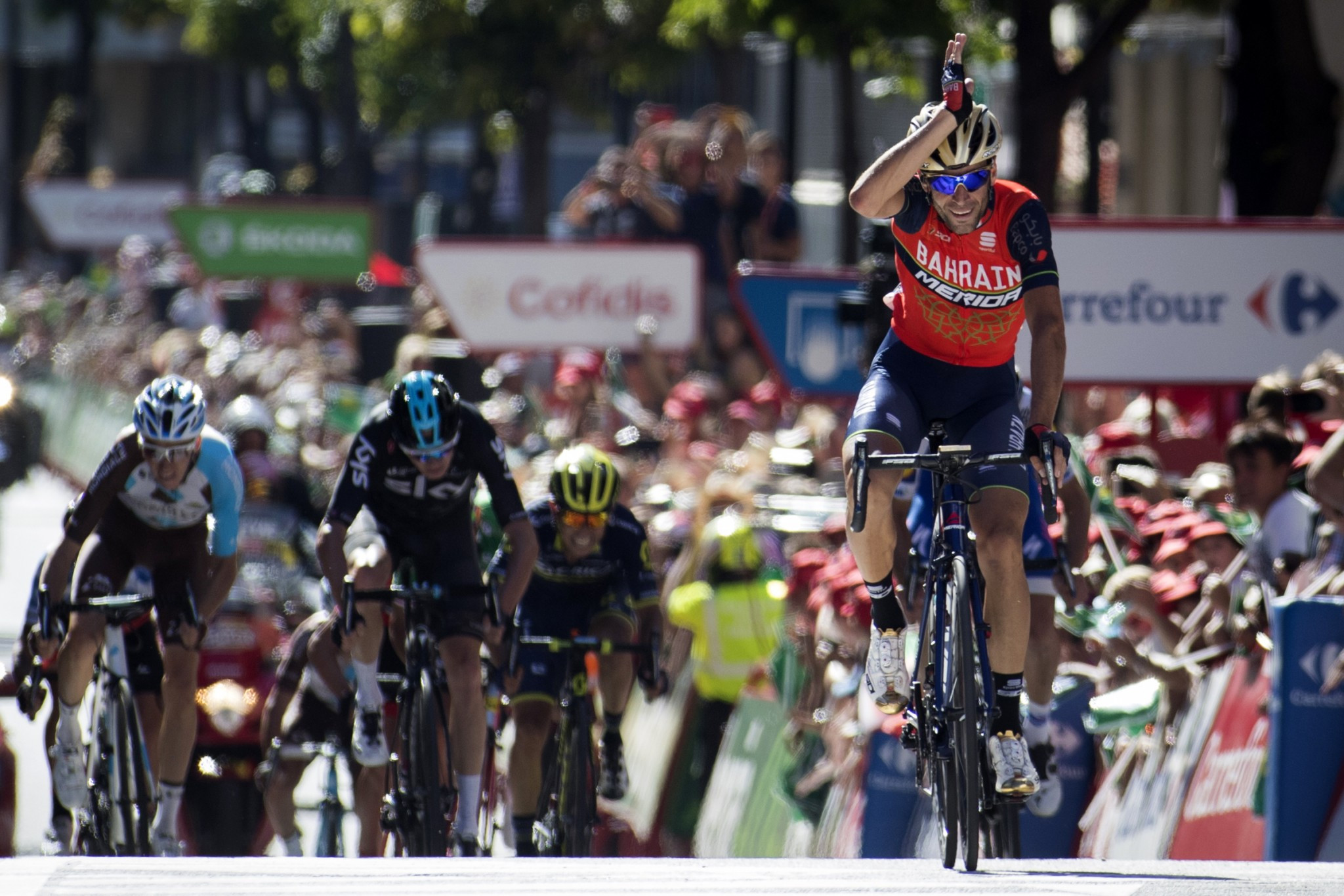 Italy's Vincenzo Nibali celebrates as he crosses the finish line in Andorra la Vella ©Getty Images