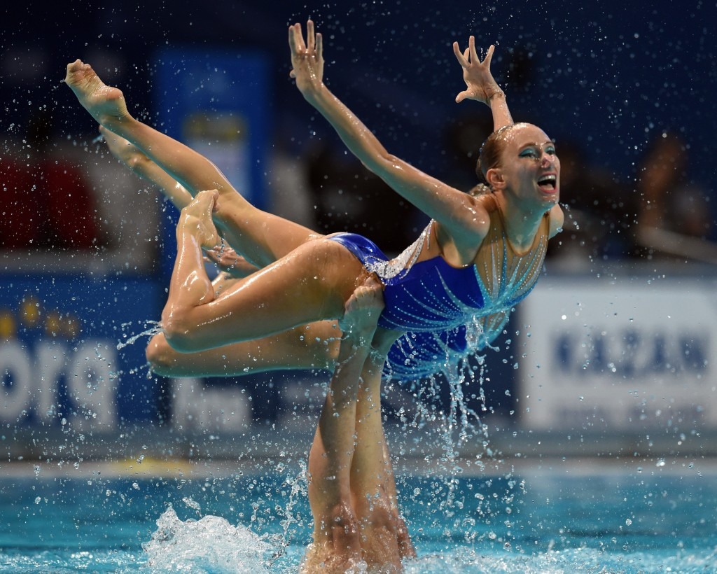 Russia defended their synchronised swimming free routine world title ©AFP/Getty Images