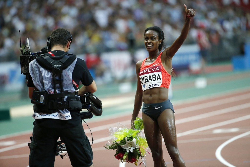 Genzebe Dibaba, pictured after breaking the world 1500m record in Monaco, will now be able to double up at in the 1500m and 5,000m at the World Championships in Beijing next month ©Getty Images