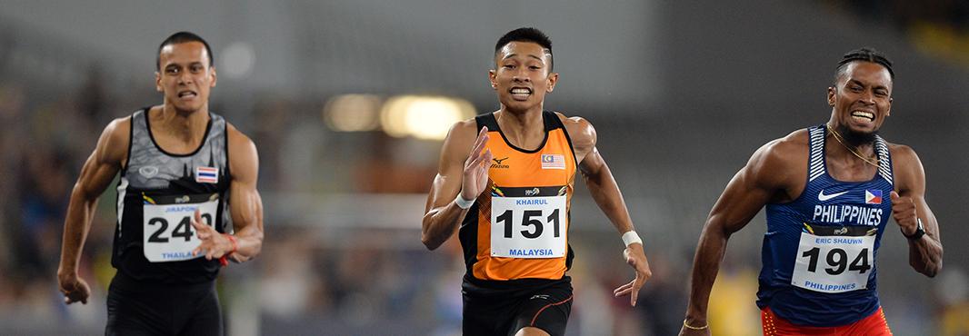 Home favourite Khairul Hafiz Jantan won the men's 100m event as action continued today at the Southeast Asian Games in Malaysia's capital Kuala Lumpur ©Kuala Lumpur 2017