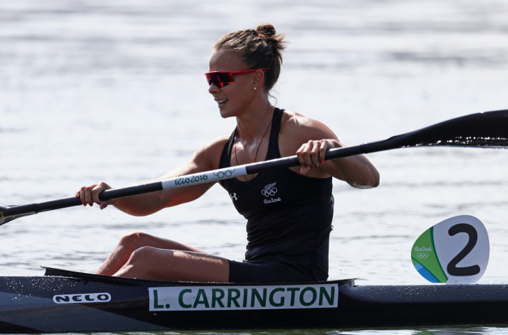 Lisa Carrington of New Zealand, pictured celebrating bronze at the Rio 2016 Games in the women's K1 500m, is racing at Racice this week ©Getty Images