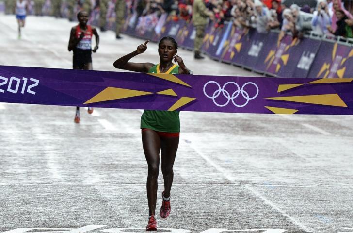 Marathon runner Tiki Gelana was another Ethiopian medal winner at London 2012 ©AFP/Getty Images