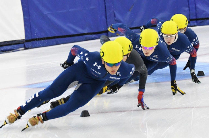Action from the US Speedskating World Cup short track trials at the Utah Oval. A ten-strong team for the season has been named ©Getty Images