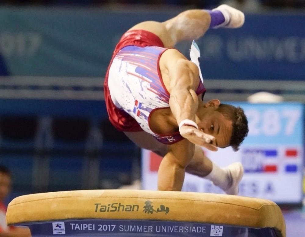 Dominican Republic's Audrys Nin Reyes won the men's vault title ©Taipei 2017