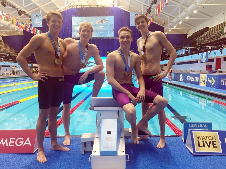 Hungary won the men's 4x100m freestyle relay ©FINA