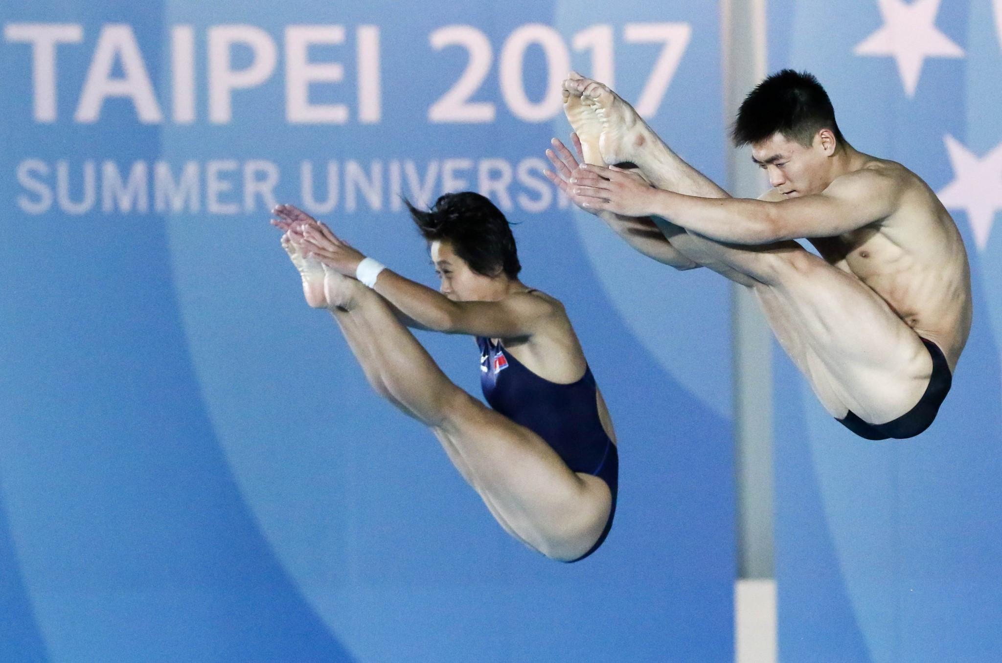 North Korea's Kim Kuk Hyang and Hyon Il Myong won diving gold today ©Taipei 2017