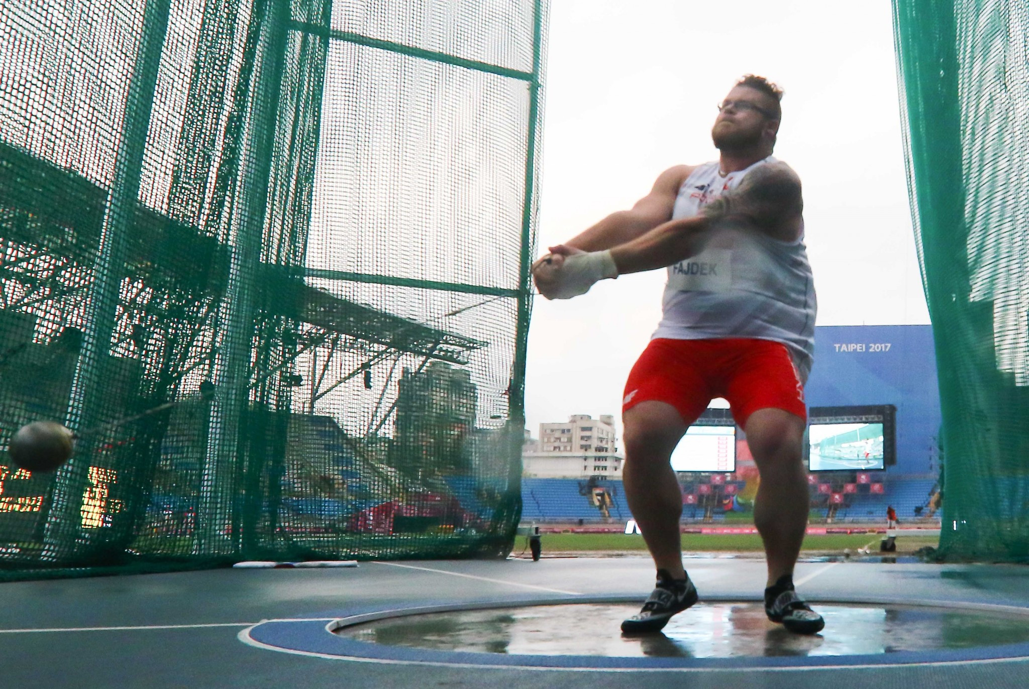 Poland's Pawel Fajdek won the hammer throw gold for a fourth Universiade in a row ©Taipei 2017