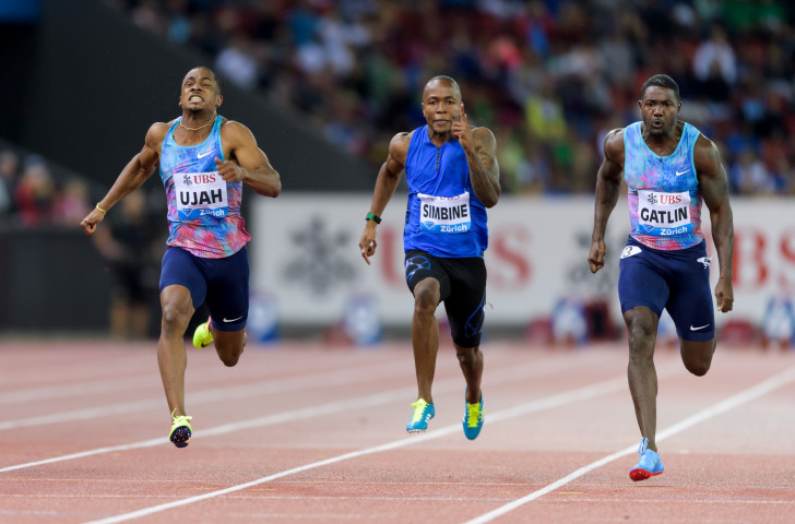 Britain's Chijindu Ujah (left) comes home for a surprise Diamond Trophy win in the 100m ahead of US world champion Justin Gatlin (right) in the first of the IAAF Diamond League finals in Zurich ©Getty Images