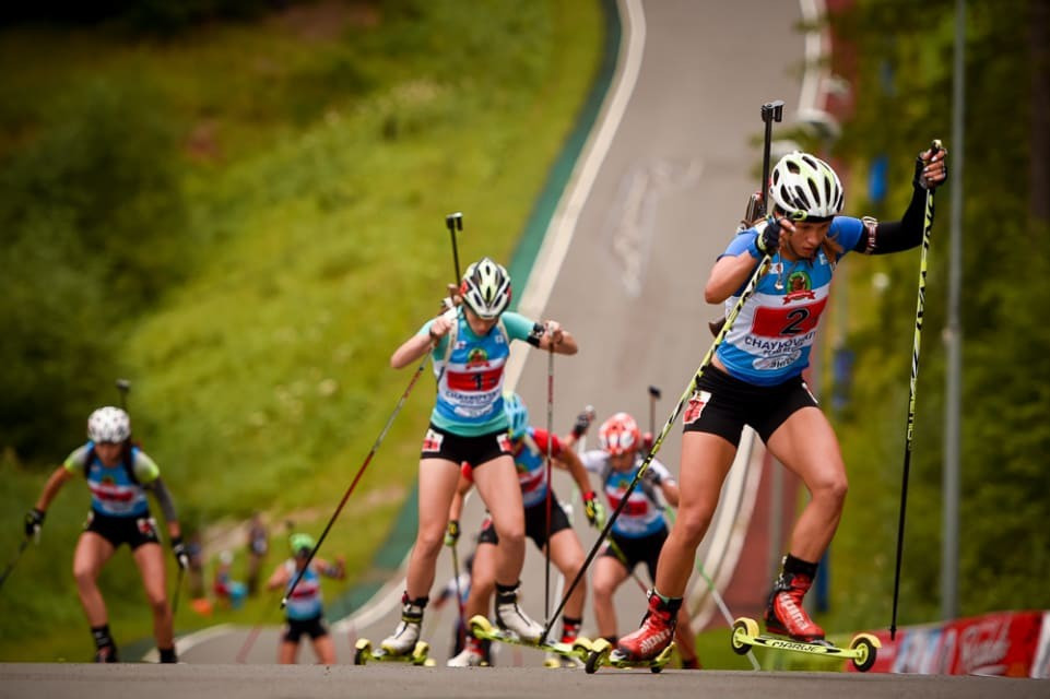 Roller-skis are used at the summer competition ©IBU