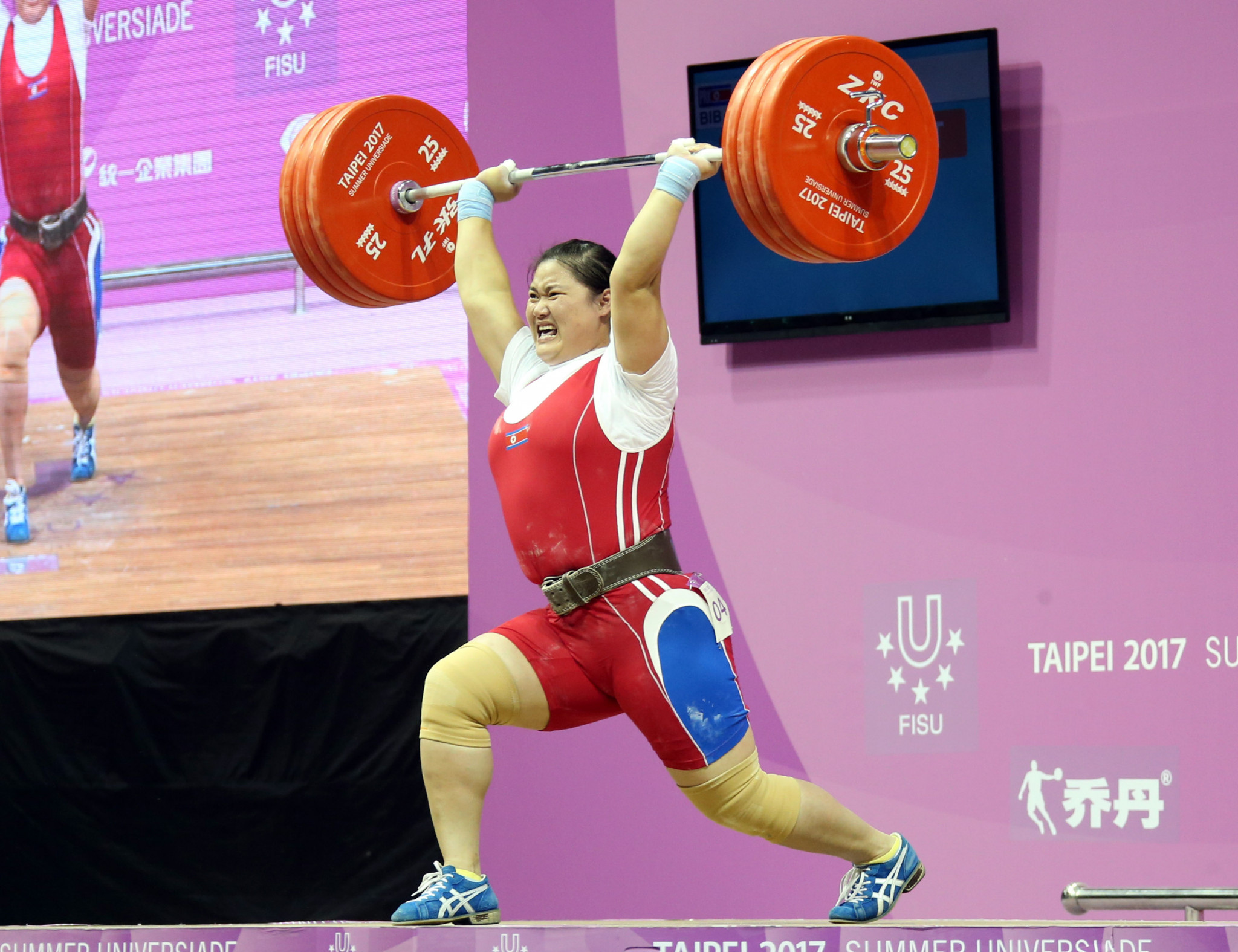 North Korea's Kim Kuk Hyang won her country's seventh weightlifting gold today ©Taipei 2017