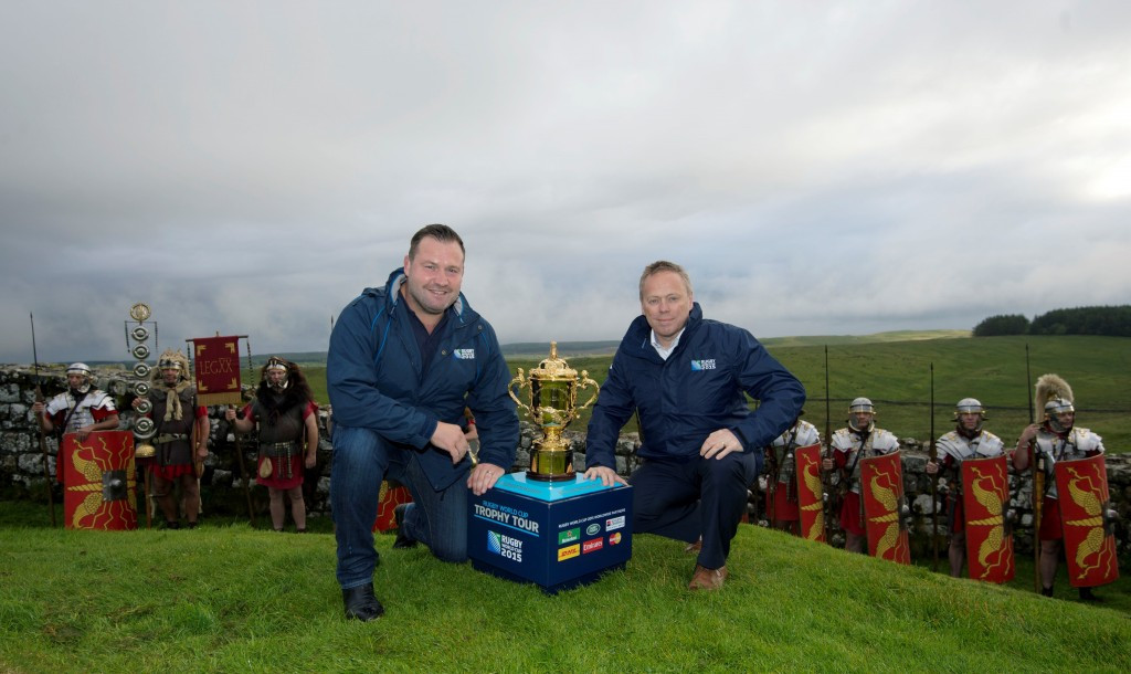 Rugby World Cup winner Mark Regan joined Stephen Brown, England Rugby 2015 managing director, to mark the 50-days to go milestone ©England Rugby 2015