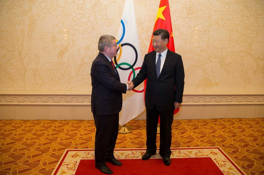 Thomas Bach, left, enjoyed another meeting with Chinese President Xi Jinping yesterday ©IOC/Greg Martin