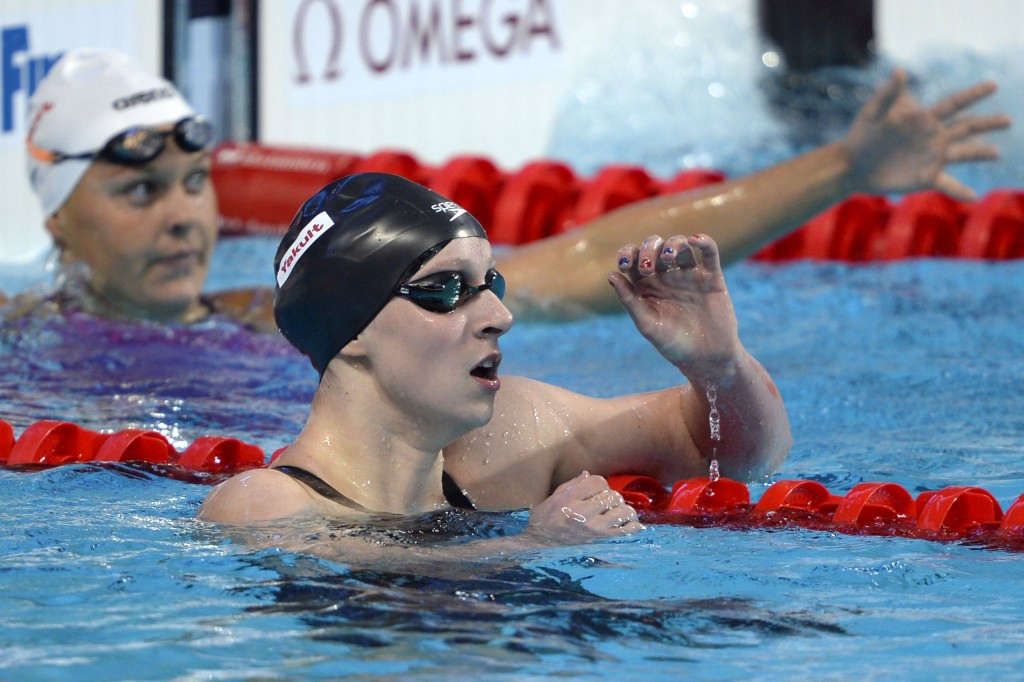 America's Katie Ledecky defended her 400m freestyle title ©AFP/Getty Images