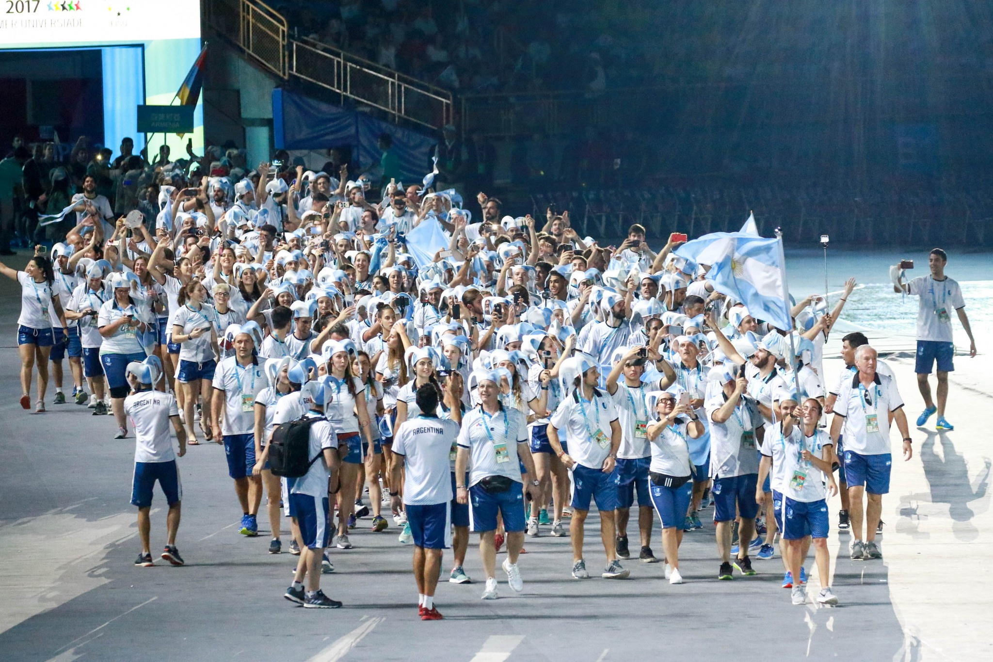 The Parade of Nations was delayed during the Opening Ceremony due to protests ©Taipei 2017