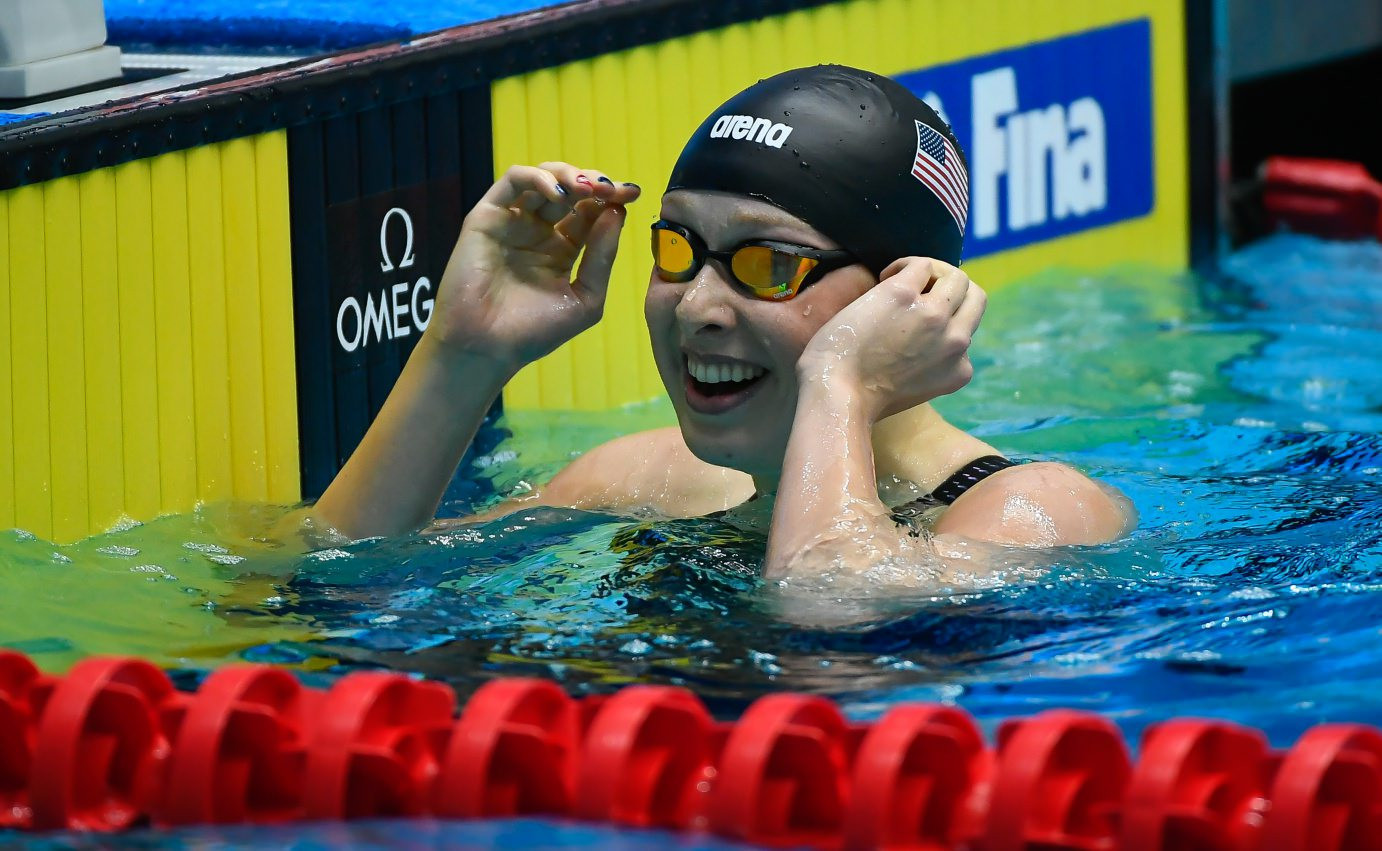 The United States' Zoe Bartel captured the first gold medal of the day, winning the women's 200m breaststroke event ©FINA
