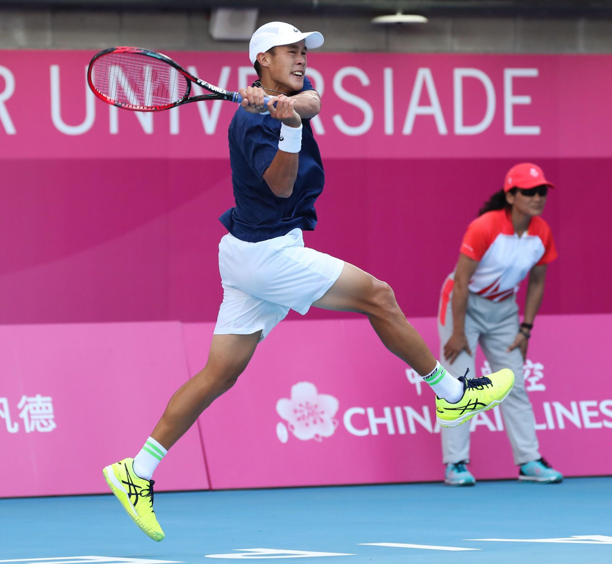 Chinese Taipei's Jason Jung won the men's tennis singles gold medal ©Taipei 2017