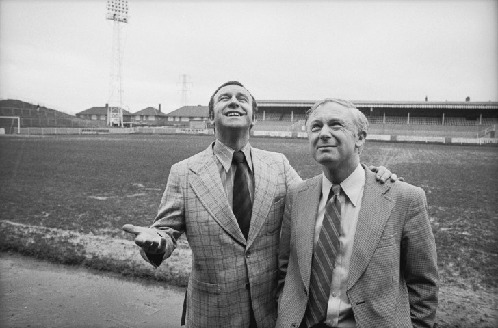 Message received - Leeds United's manager in 1975, Jimmy Armfield, left, got through to his players after Brian Clough had turned them off and left them near the bottom of the league ©Getty Images